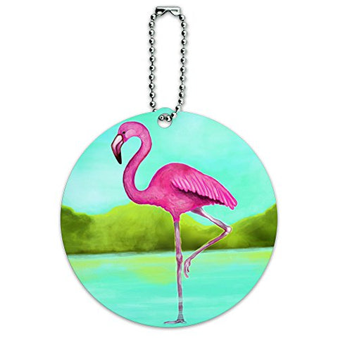 Flamingo Round Luggage Id Tag Card Suitcase Carry-On