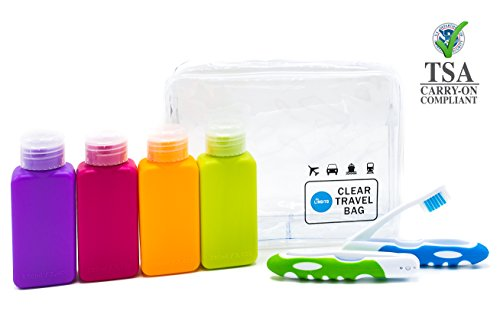 Clear Tsa Approved Carry-On Toiletry Bag Set + 4 Leak Proof Refillable Travel Bottles + 2 Travel