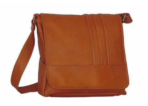 David King & Co. Vertical Laptop Messenger with 3 Stripes, Tan, One Size