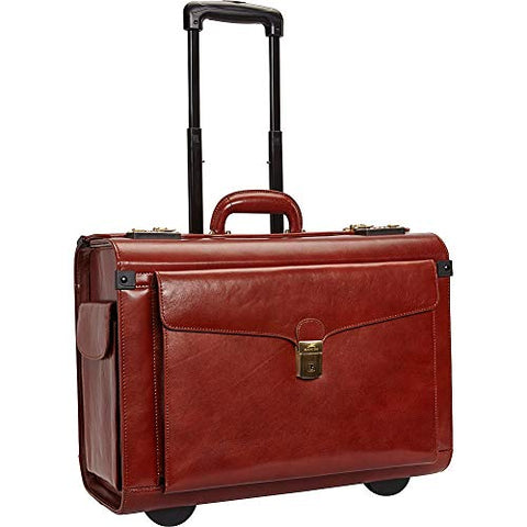 Mancini Leather Goods Deluxe Wheeled Catalog Case (Brown)