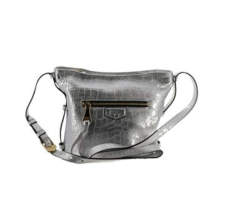 Aimee Kestenberg Pebble Leather Crossbody Handbag- Liza Silver Croco New A292599