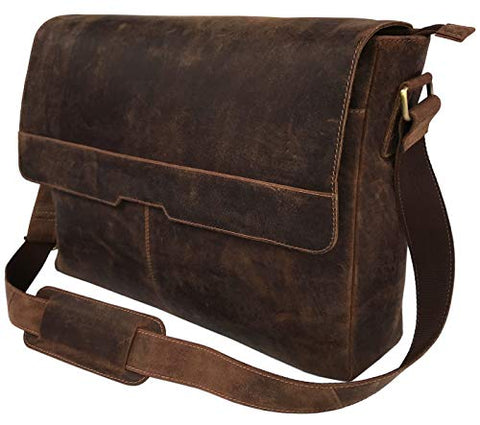 "18"" Leather Messenger Bag Vintage Buffalo Satchel Laptop Briefcase Unisex Computer Bags for Men"