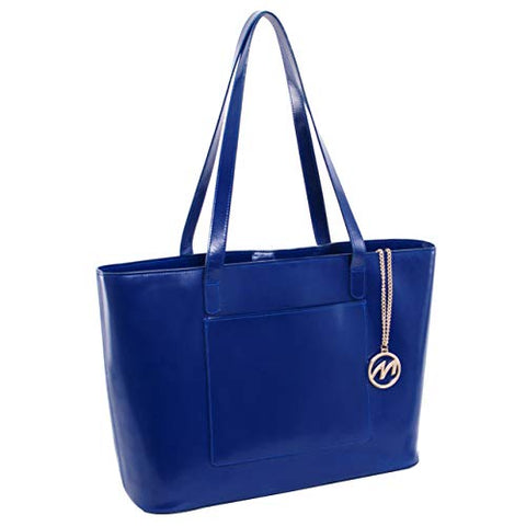 McKlein Women's Laptop Tote- 97537, Leather, Small, Navy - ALYSON