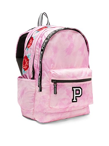 Victoria'S Secret Pink Campus Backpack Cupid Pink Tie Dye With Roses