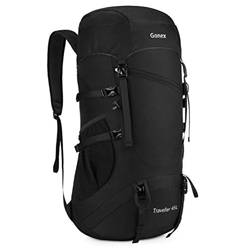 Gonex 45L Packable Travel Backpack, Lightweight Daypack for Hiking, Camping & Travelling Black