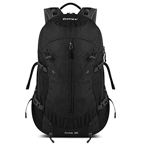 Gonex 35L Hiking Backpack Mountaineering Bag, Rain Cover Included Black