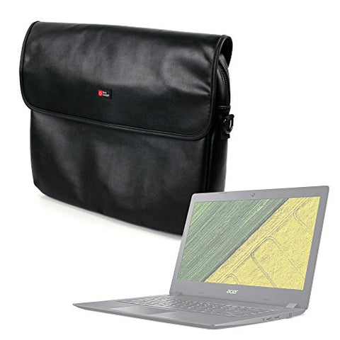 "DURAGADGET Luxury PU Leather 15.6"" Laptop Zip-up Carry Bag in Black for The Acer Aspire 3"