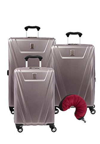 Travelpro Maxlite 5 Hardside 4-PC Set: Carry-On, 25-Inch and 29-Inch Spinner with Travel Pillow (Dusty Rose)