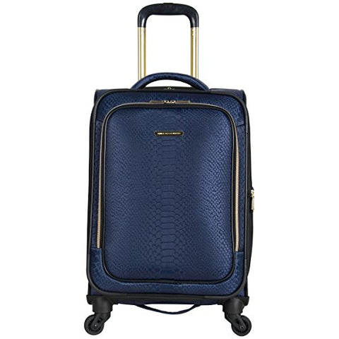 "Aimee Kestenberg Women'S 20"" Jacquard Python Printed Polyester Expandable 4-Wheel Carry-On Luggage, Navy"