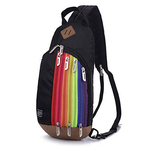 BIBITIME Black Unisex Multipurpose Rainbow Zipper Casual Sport Travel Shoulder Cross Body Bag Sling