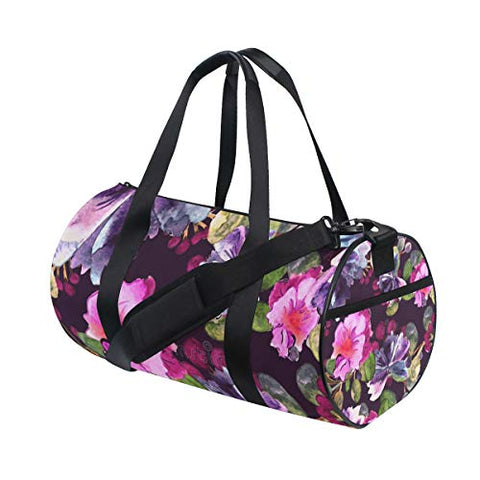 Duffel Bag Watercolor Purple Floral Women Garment Gym Tote Bag Best Sports Bag for Boys