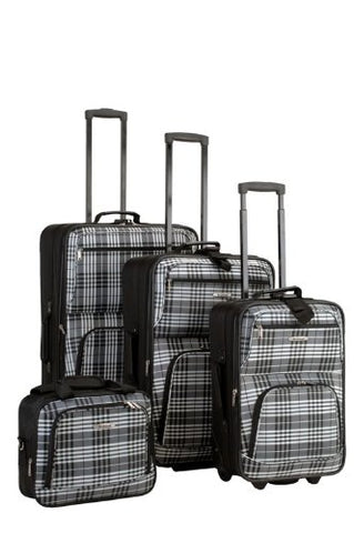 Rockland F105-BLACKCROSS 4 Piece Black Plaid Luggage Set