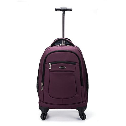 Racini Nylon Waterproof Rolling Backpack, Freewheel Travel School Wheeled Backpack, Carry-On Luggage With Anti-Theft Zippers(Purple)