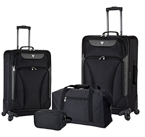 "Travelers Club 4 Piece Travel Value Set Includes 25"" Spinner Suitcase, 20"" Carry-On Luggage, 21"""