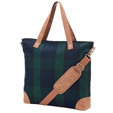 Plaid Shoulder Tote Bag Faux Leather Trim Can Be Personalized (Plaid - Blank)
