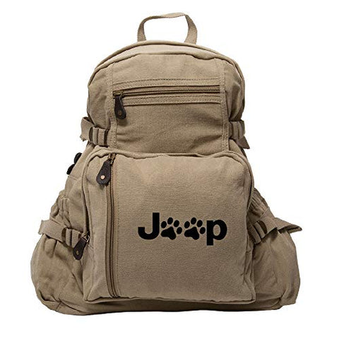 Jeep Wrangler Cat Dog Paw Prints Army Sport Heavyweight Canvas Backpack Bag in Khaki & Black, Large