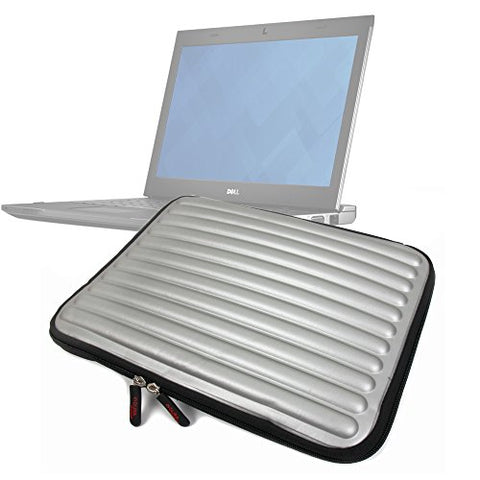 Duragadget Shock-Absorbing, Water-Resistant, Protective Memory Foam Laptop Case In Silver For