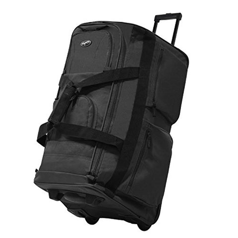 "Olympia Luggage 29"" 8 Pocket Rolling Duffel Bag (Charcoal Gray W/ Black - Exclusive Color)"