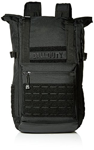 Bioworld Men's Call of Duty Black Military Roll Top Backpack W/ Laser Cuts