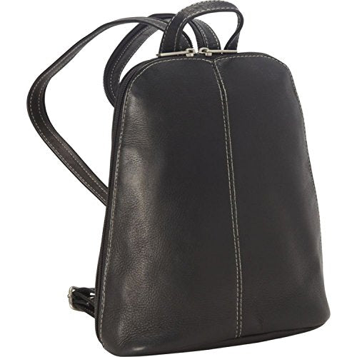 Royce Leather Vaquetta Zip Around Sling Backpack (Black)