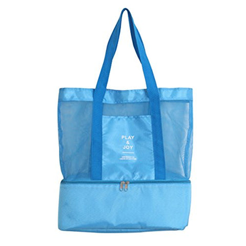 ABage Women's Tote Bag Summer Mesh Beach Shoulder Bag Travel Insulated Cooler Bags, Blue