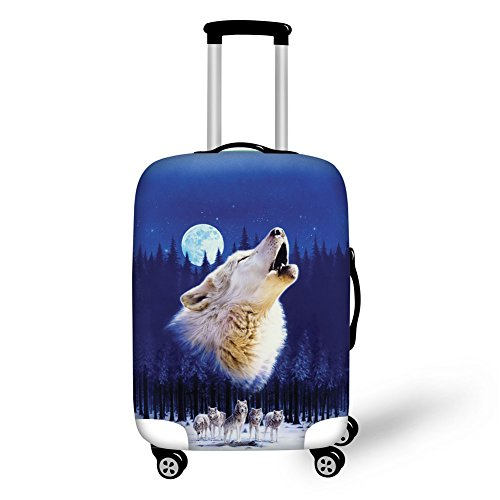 "Bigcardesigns Blue Wolf Travel Luggage Protective Covers For 22""-25"" Suitcase Elastic"