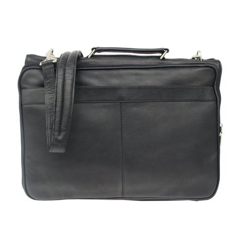 Piel Leather Double Executive Computer Bag, Black, One Size