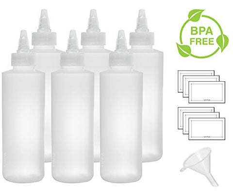 Twist Top Spout Natural Clear Refillable (BPA Free) Plastic Squeeze Bottle - 6 oz (6 pack) + Funnel and Labels