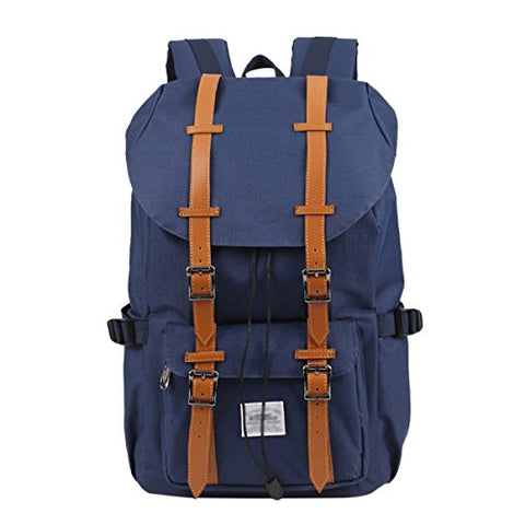 "ABage Unisex School Backpack Large Hiking Travel College School 15"" Laptop Backpack, Navy Blue"