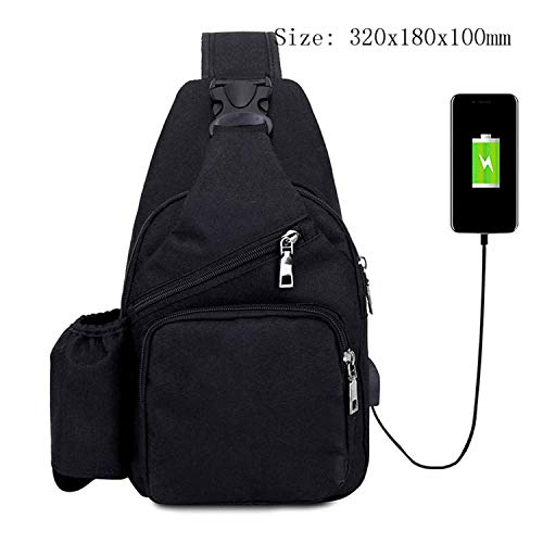 Male Leisure Sling Chest Pack Crossbody Bags for Men Messenger Canvas USB Charging Leather Handbag Shoulder Bags