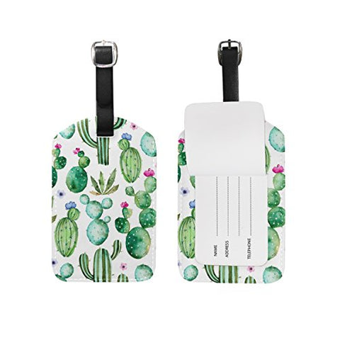 Use4 Cactus Watercolor Luggage Tags Travel ID Bag Tag for Suitcase 1 Piece