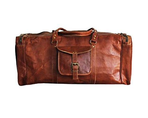 Vintage Leather 24 Inch Square Duffel Travel Gym Sports Overnight Weekend Leather Bag