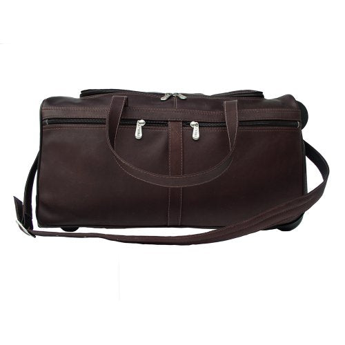 Piel Leather Duffel On Wheels, Chocolate, One Size