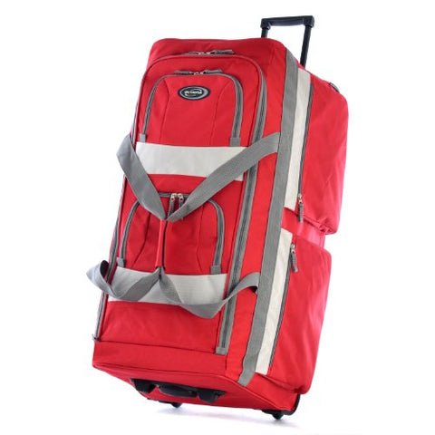 "Olympia 33"" 8 Pocket Rolling Duffel, Red"