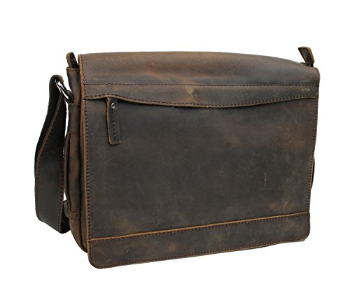 "Vagabond Traveler 14"" Leather Messenger Laptop Bag L18. Dark Distress"