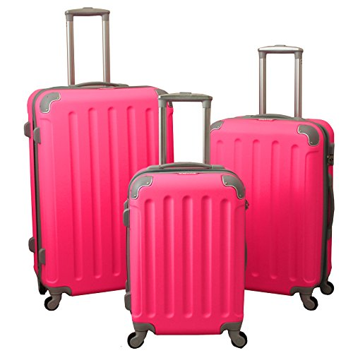 Dejuno Neato 3-Piece Hardside Spinner Combination Lock Luggage Set, Pink