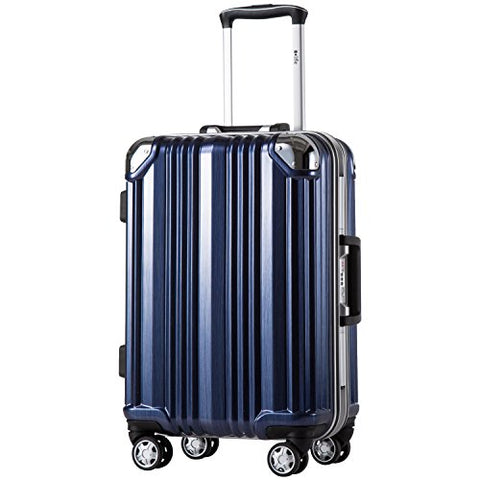 Coolife Luggage Aluminium Frame Suitcase with TSA Lock 100% PC (S(20in), Blue)