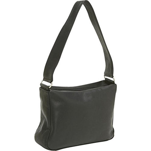 Ledonne Leather Top Zip Handbag, Black