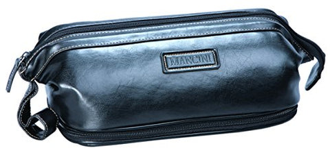 "Simulated Leather Dual Compartment Toiletry Kit With Manuicure Set, Black, 10.25"" x 4.5"" x 6.5"""