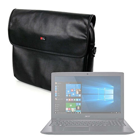 "DURAGADGET Luxury PU Leather 15.6"" Laptop Zip-up Carry Bag in Black for The Acer Aspire E 15"