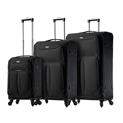 Viaggi V1100-03Pc-Blk Italy Sione Softside Spinner 3Pc Set, Black