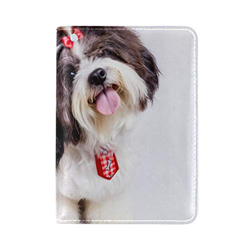 Passport Holder Cute Shih Tzu Travel Genuine Leather Wallet Cover Case for Womens Mens Kids
