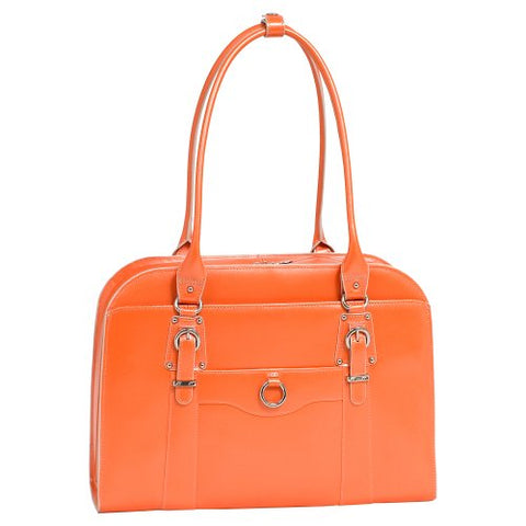 "McKlein, W Series, Hillside, Top Grain Cowhide Leather, 14"" Leather Ladies' Laptop Briefcase, Orange (96520)"