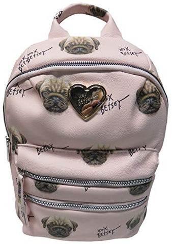 Betsey Johnson Women's Backpack, Blush/Pug Dogs,
