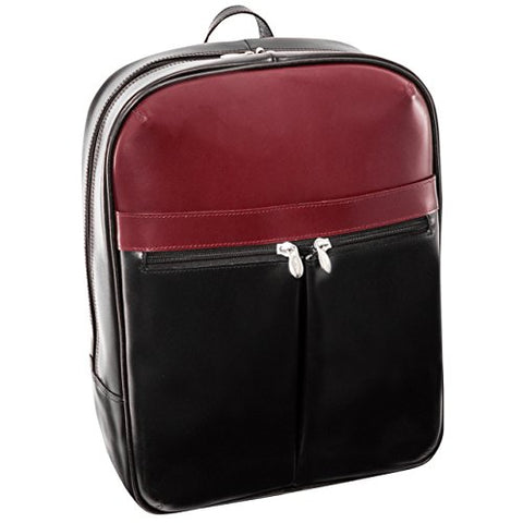 "McKlein, L Series, Avalon, Top Grain Cowhide Leather, 15"" Leather Laptop Slim Backpack, Blk/Red (87886)"