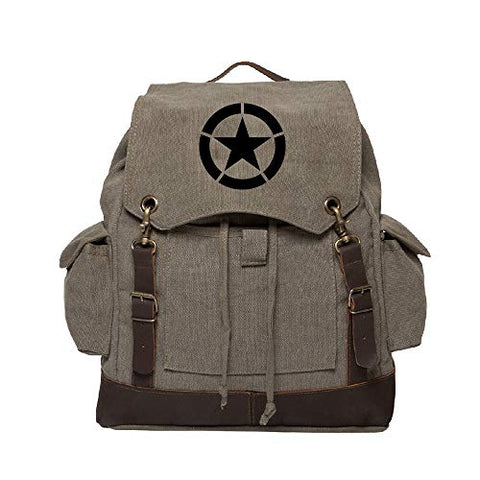 World War 2 Military Jeep Star Rucksack Backpack w/ Leather Straps Olive & Black
