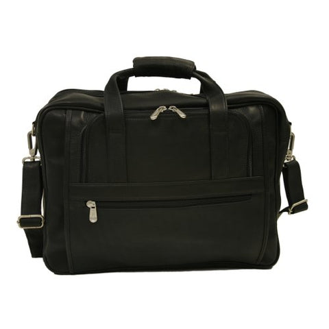 Piel Leather Large Ultra Compact Computer Bag, Black, One Size