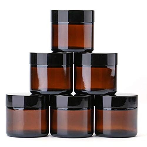 2 oz Round Glass Jars (6 Pack) - Empty Cosmetic Containers with Inner Liners, black Lids and