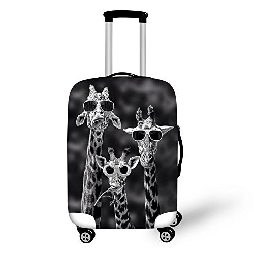Hugsidea Giraffe Funny Suitcase Protective Cover Stretch Elastic Travel Luggage Protector Fits