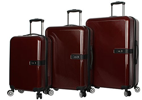 "Nicole Miller New York Ria Collection Hardside 3-Piece Spinner Luggage Set: 28"", 24"", and 20"" (Burgundy)"
